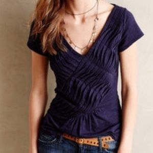 Anthro Deletta Navy Blue Pleated Top, S